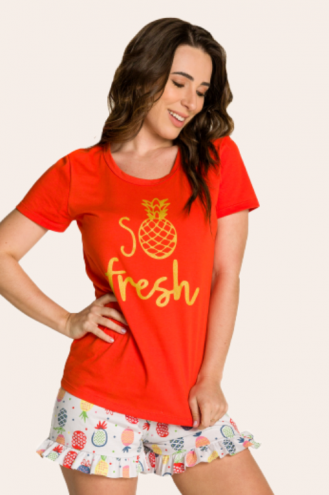 204/B - Pijama Adulto Feminino So Fresh com Babado