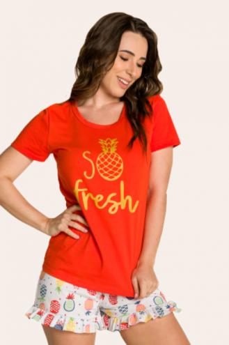 015/B - Pijama Adulto Feminino So Fresh com Babado