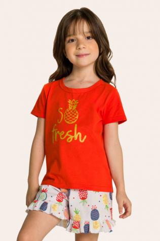 015/D - Pijama Infantil Feminino So Fresh com Babado