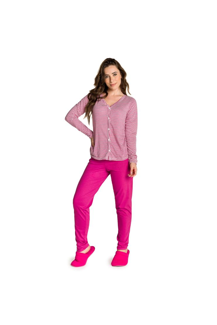016/H - Pijama Maternidade Aberto Listrado