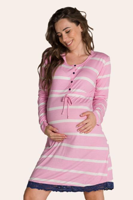 016/K - Camisola Maternidade Aberta Listrada Com Renda