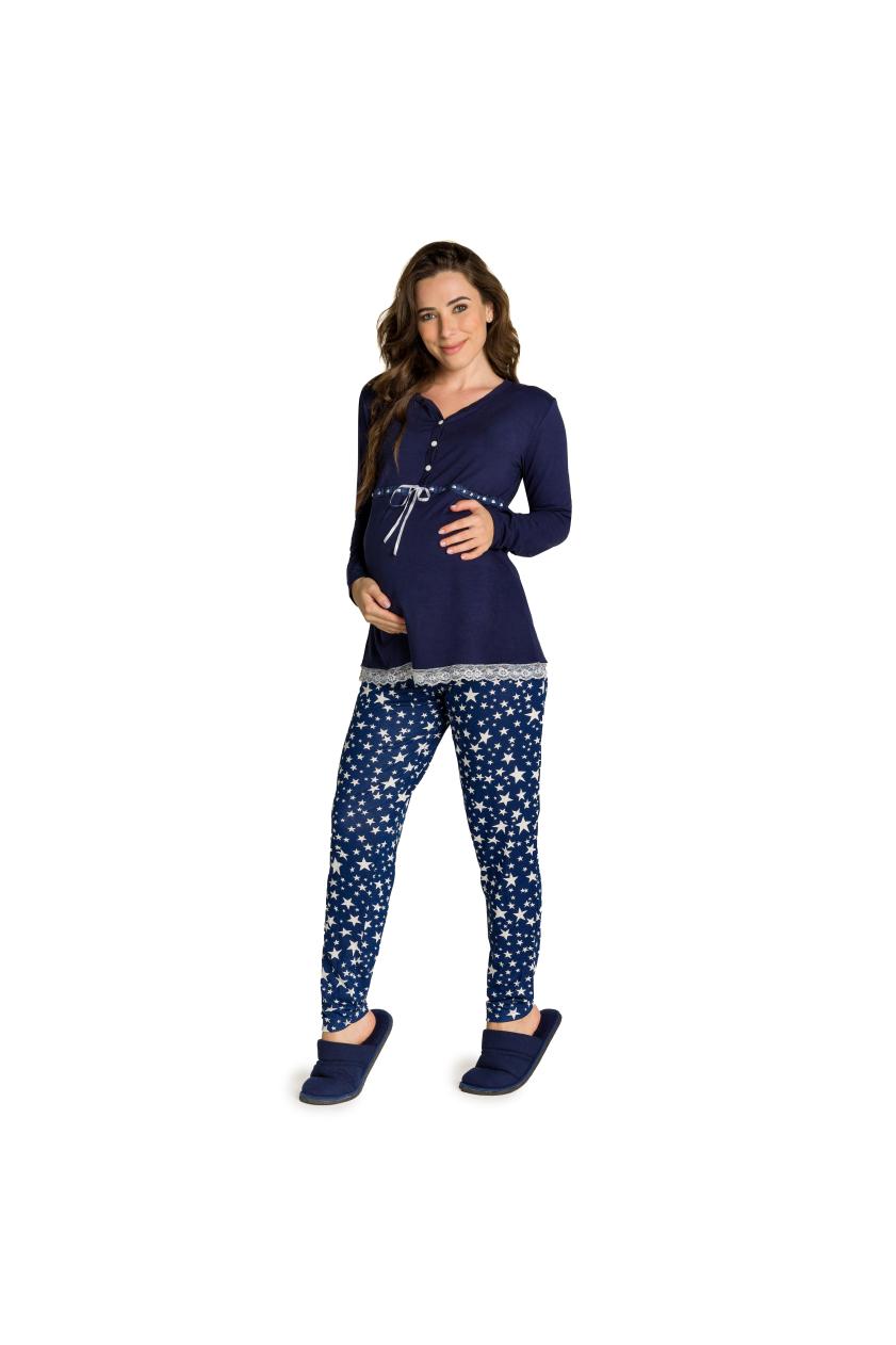 016/M – Pijama Maternidade Com Renda e Calça de Estrelas