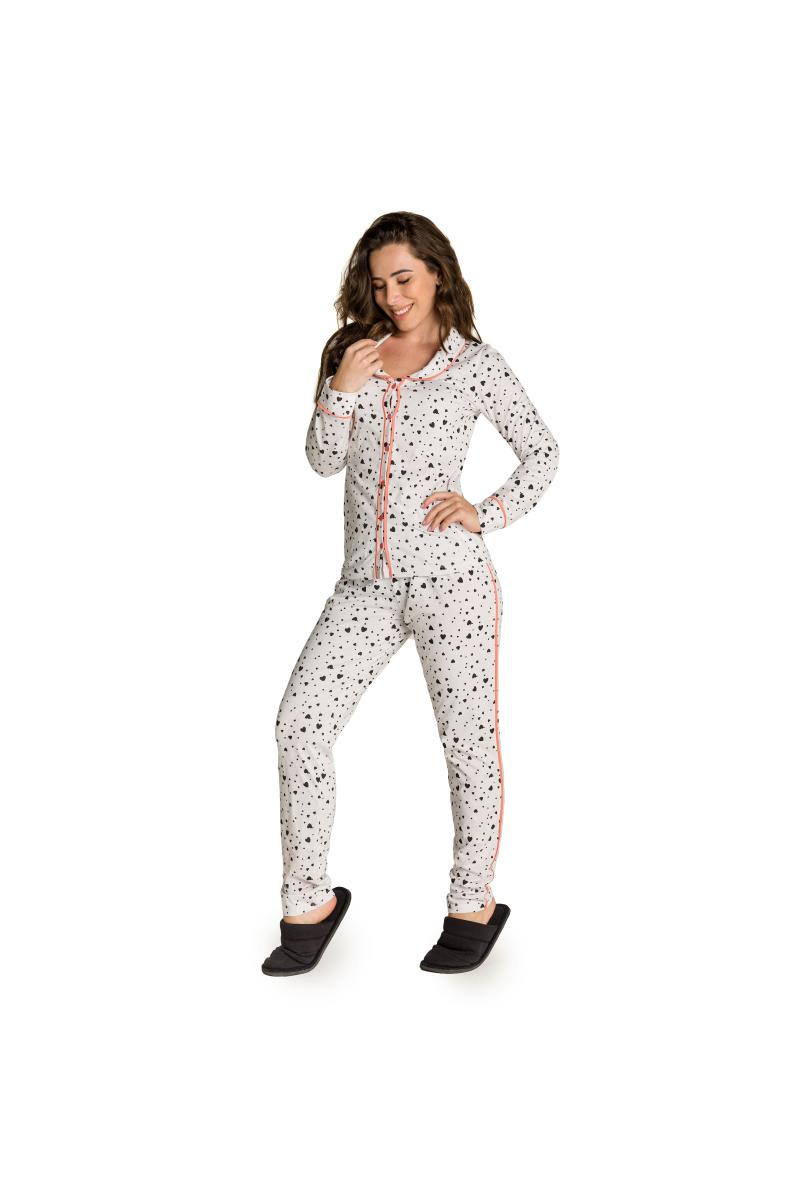 008/B - Pijama com Gola e Filete