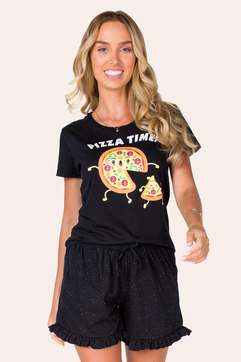 041/A - Pijama Adulto Feminino  Pizza Time - Família