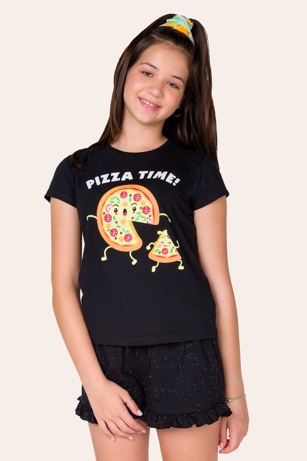 041/B - Pijama Juvenil Feminino  Pizza Time - Família