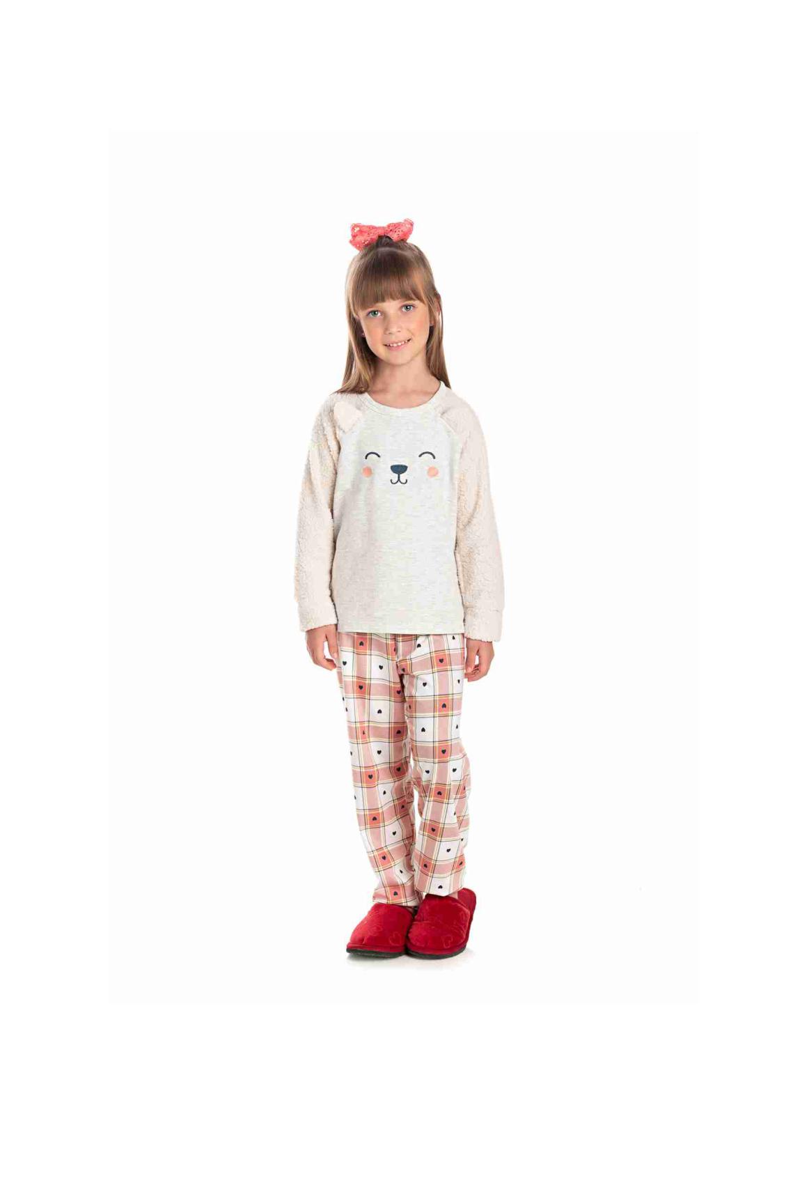017/C - Pijama Infantil Feminino com Pelo Carneirinho