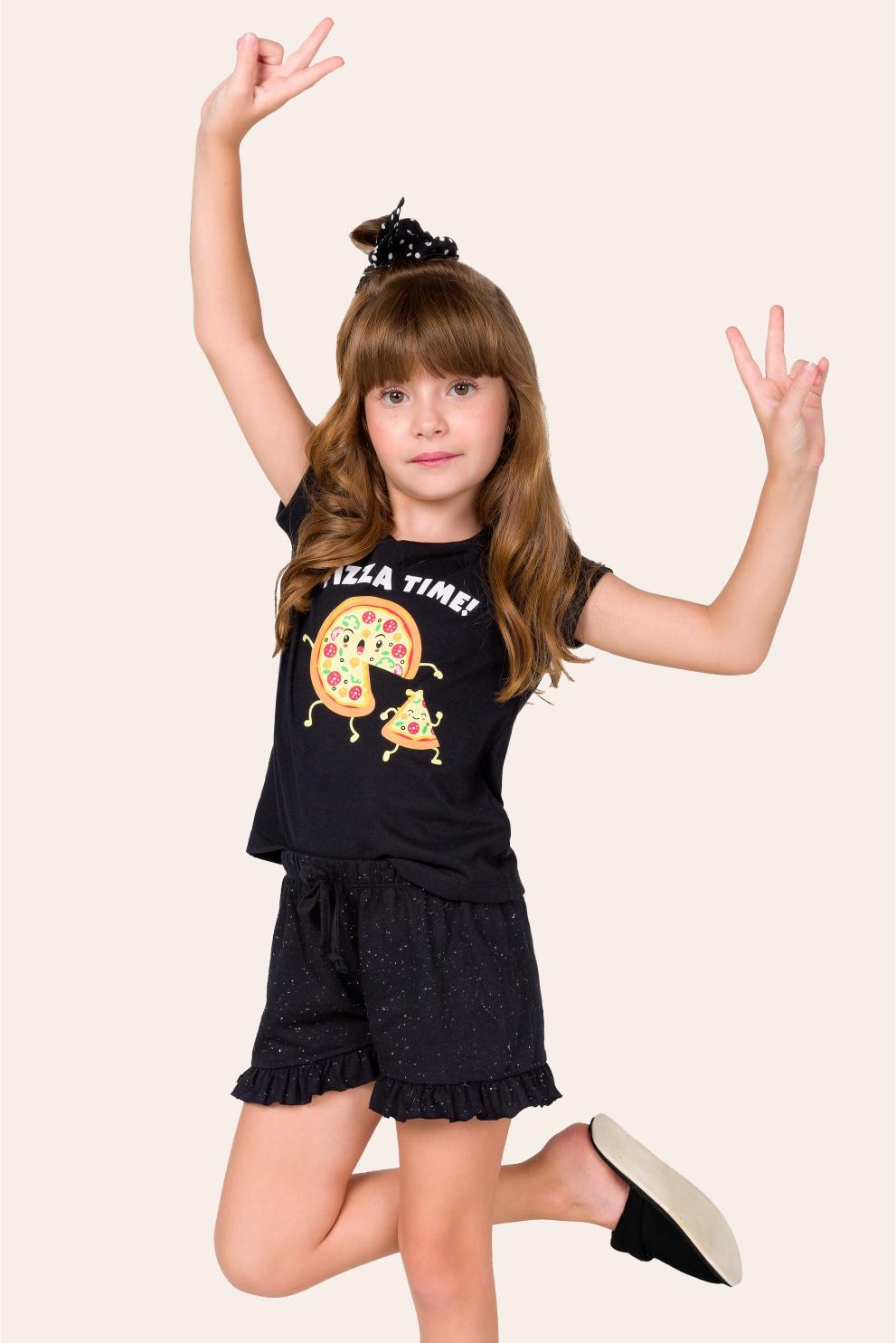 041/C - Pijama Infantil Feminino Pizza Time - Família