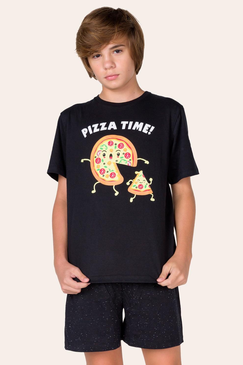 041/E - Pijama Juvenil Masculino  Pizza Time - Família