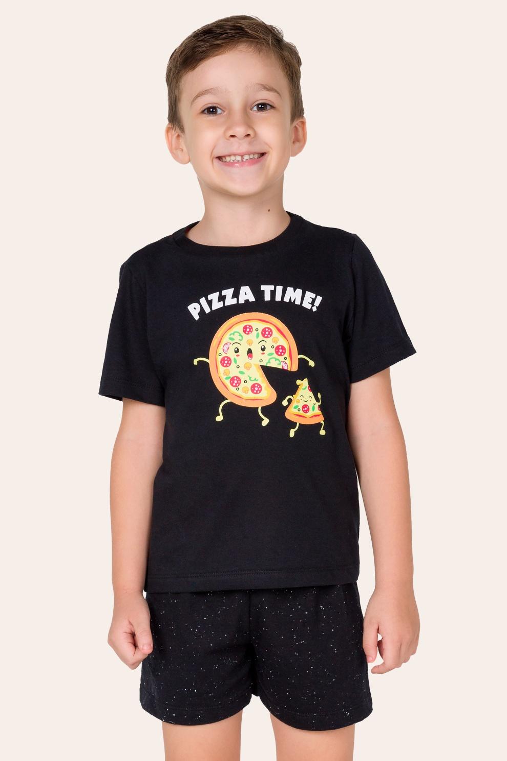 041/F - Pijama Infantil Masculino Pizza Time - Família