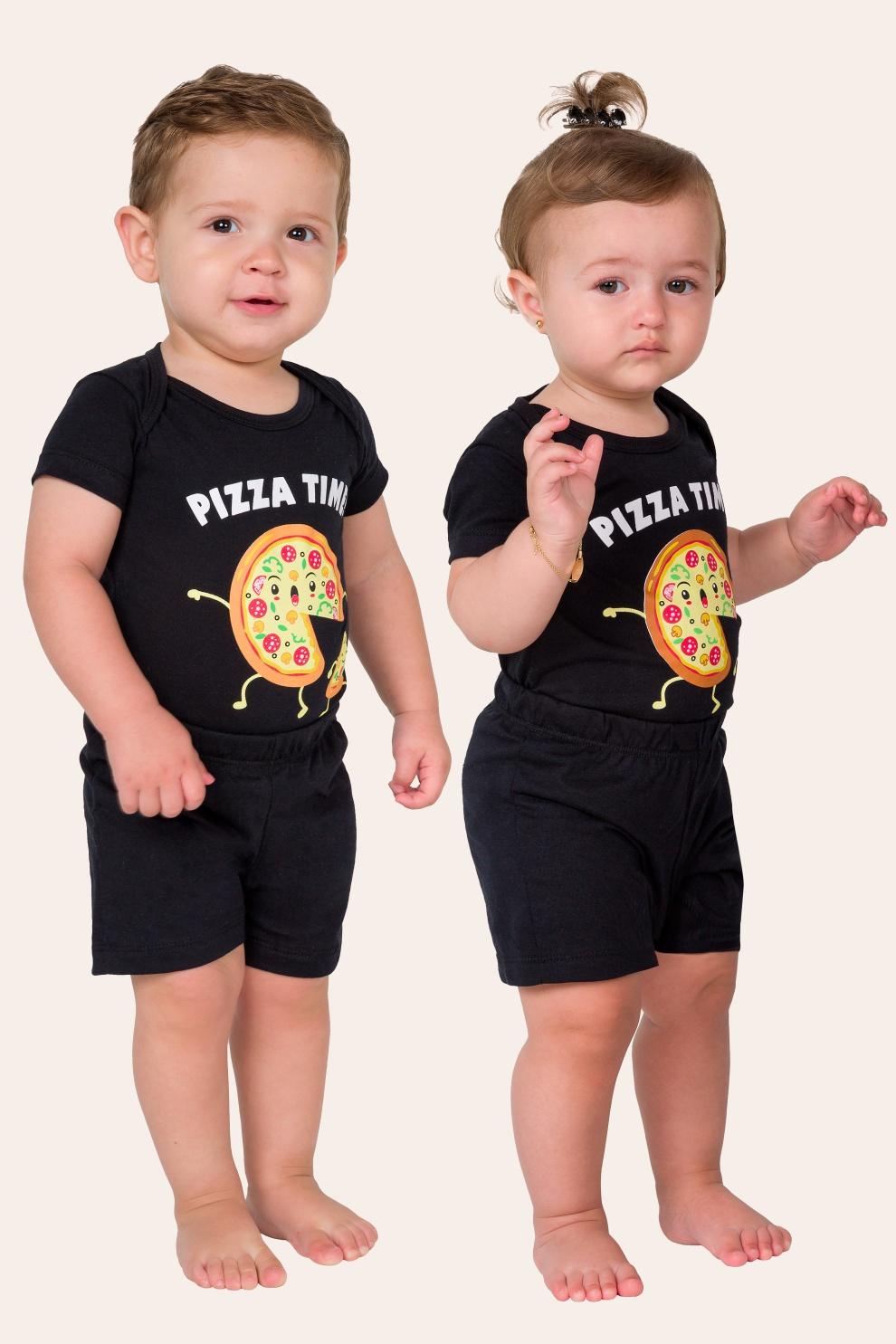 041/G - Pijama Bebê Unissex Pizza Time - Família