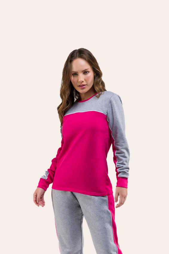 022/A - Pijama Adulto Feminino Moletom