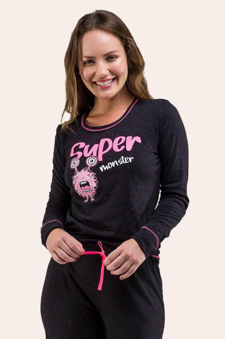 001/A - Pijama Adulto Feminino Monster