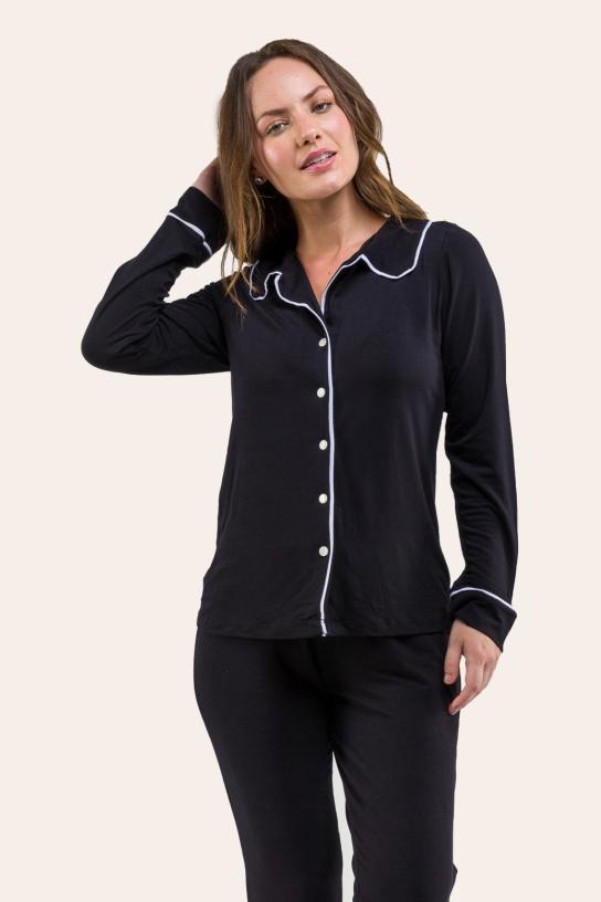 020/B - Pijama Adulto Feminino Longo Comfy Viscolycra