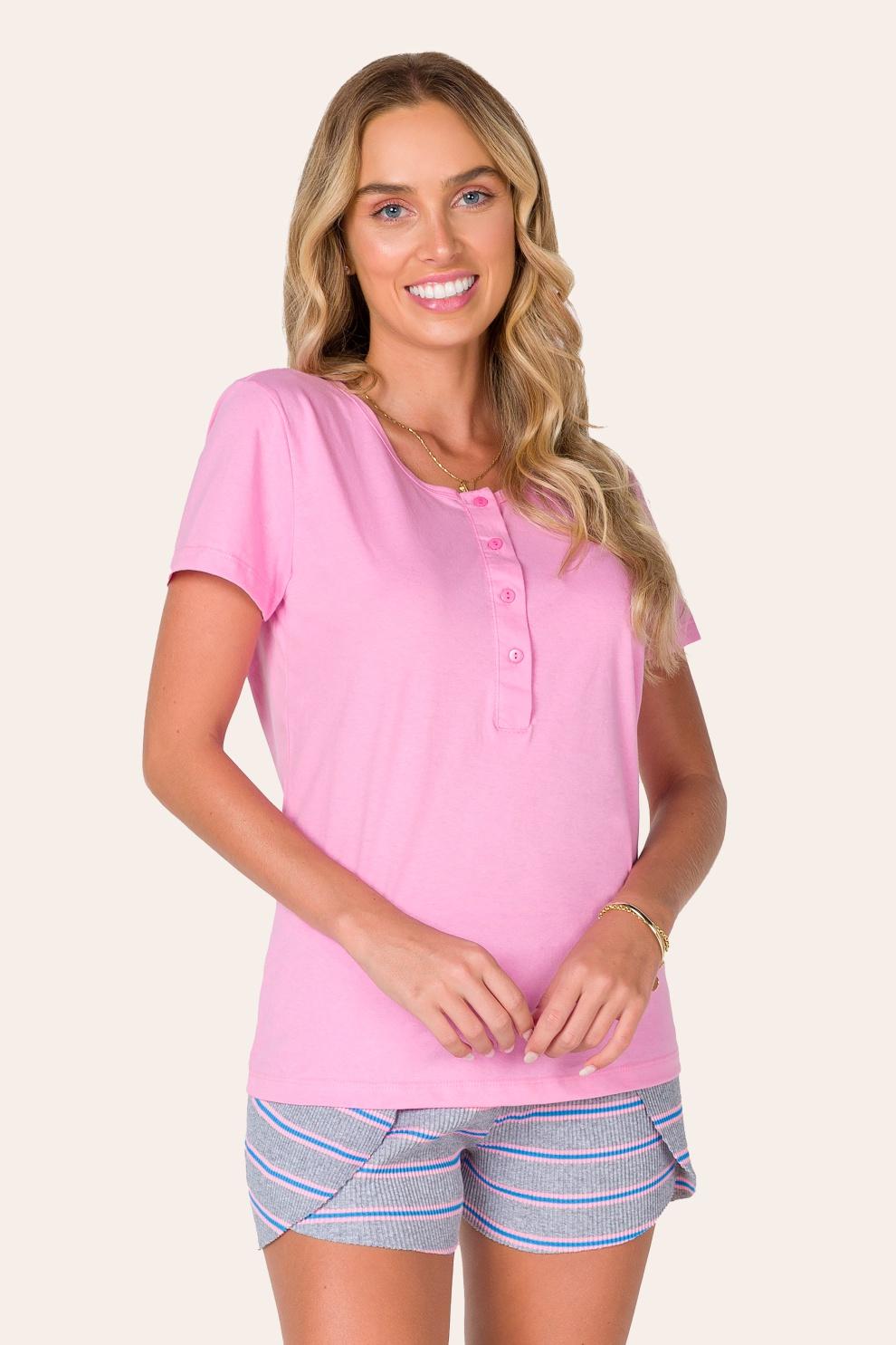 021/C - Pijama Adulto Feminino Aberto Rosa