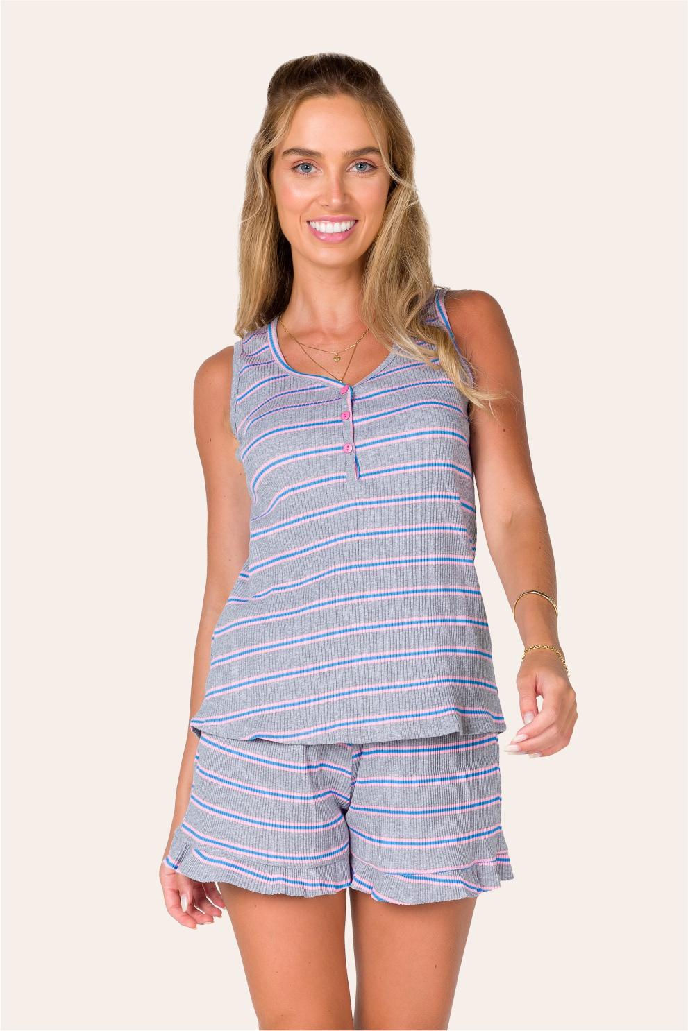 021/D - Pijama Adulto Ribana Canelada Listrada