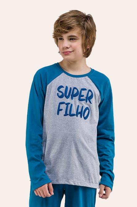 020/G - Pijama Juvenil Masculino Manga Longa -  Super Filho