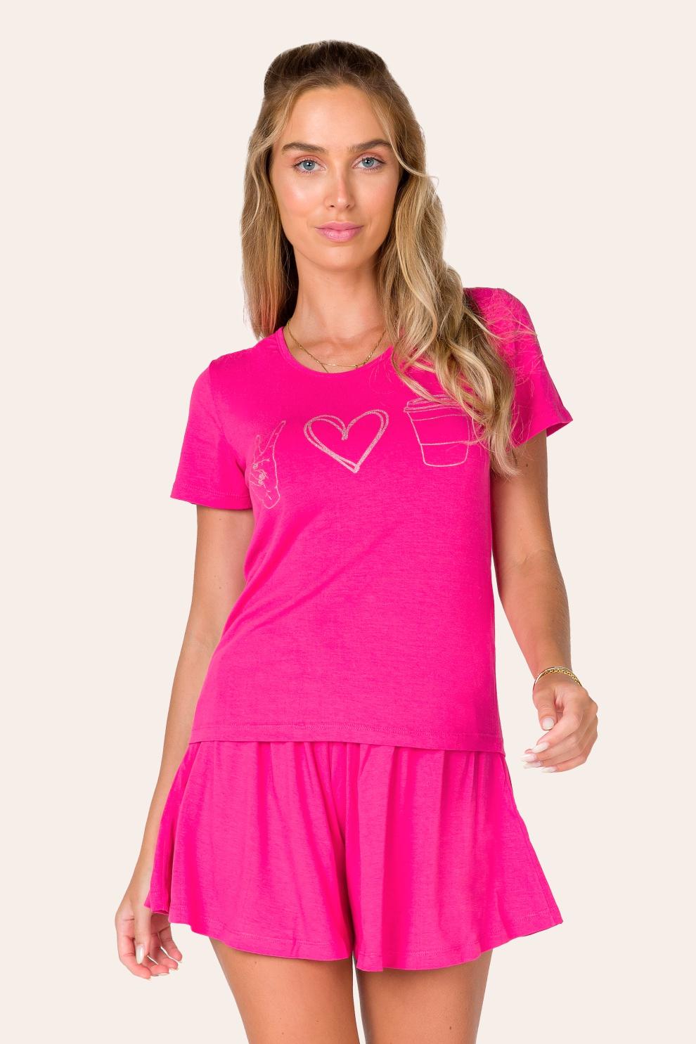 025/D - Pijama Curto Adulto Feminino Love
