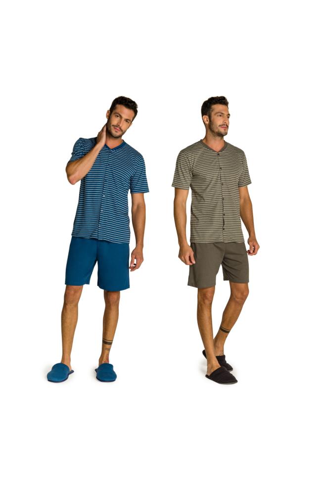 005/B - Pijama Adulto Masculino Aberto Listrado