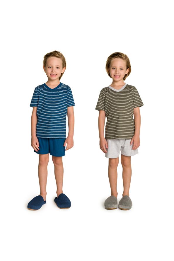 007/C - Pijama Infantil Masculino Pai e Filhos Botonê Listrado