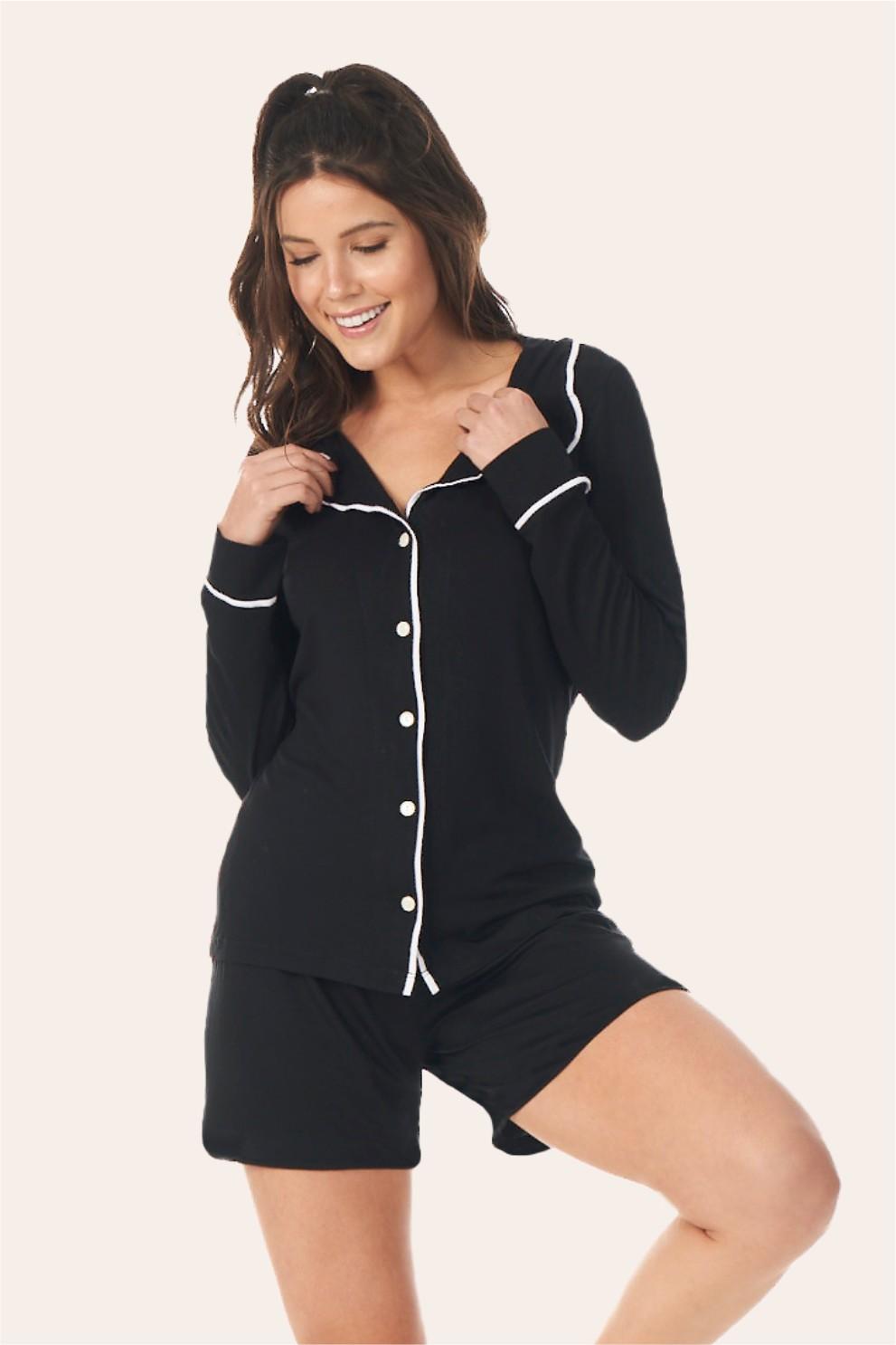 028/A - Pijama Adulto Feminino Longo Com Short Comfy Viscolycra