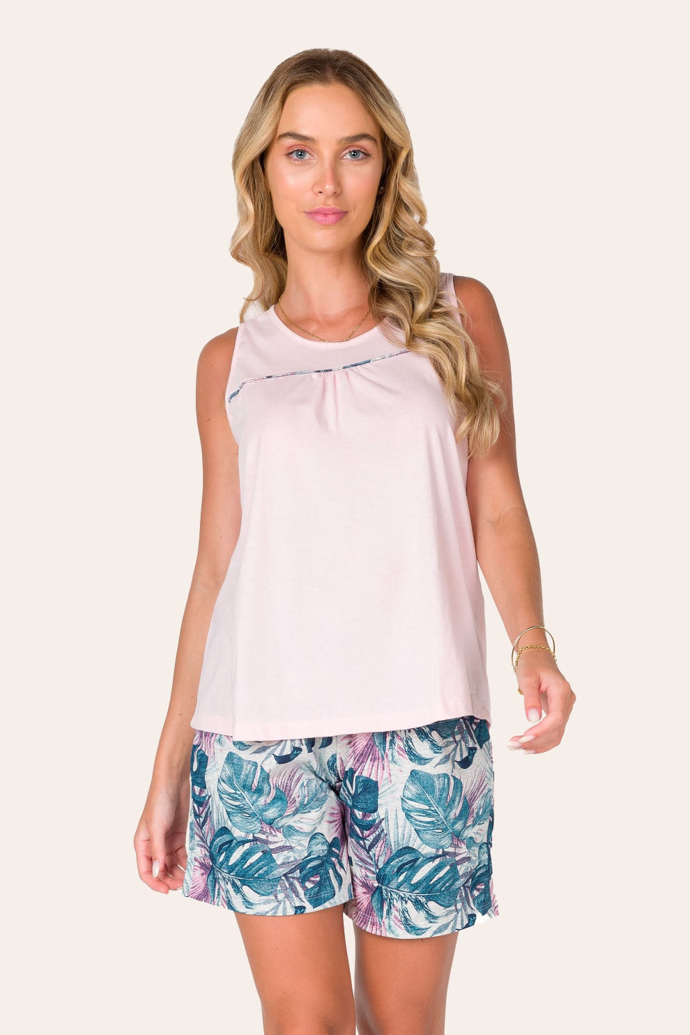 031/A - Pijama Curto Adulto Feminino Regata