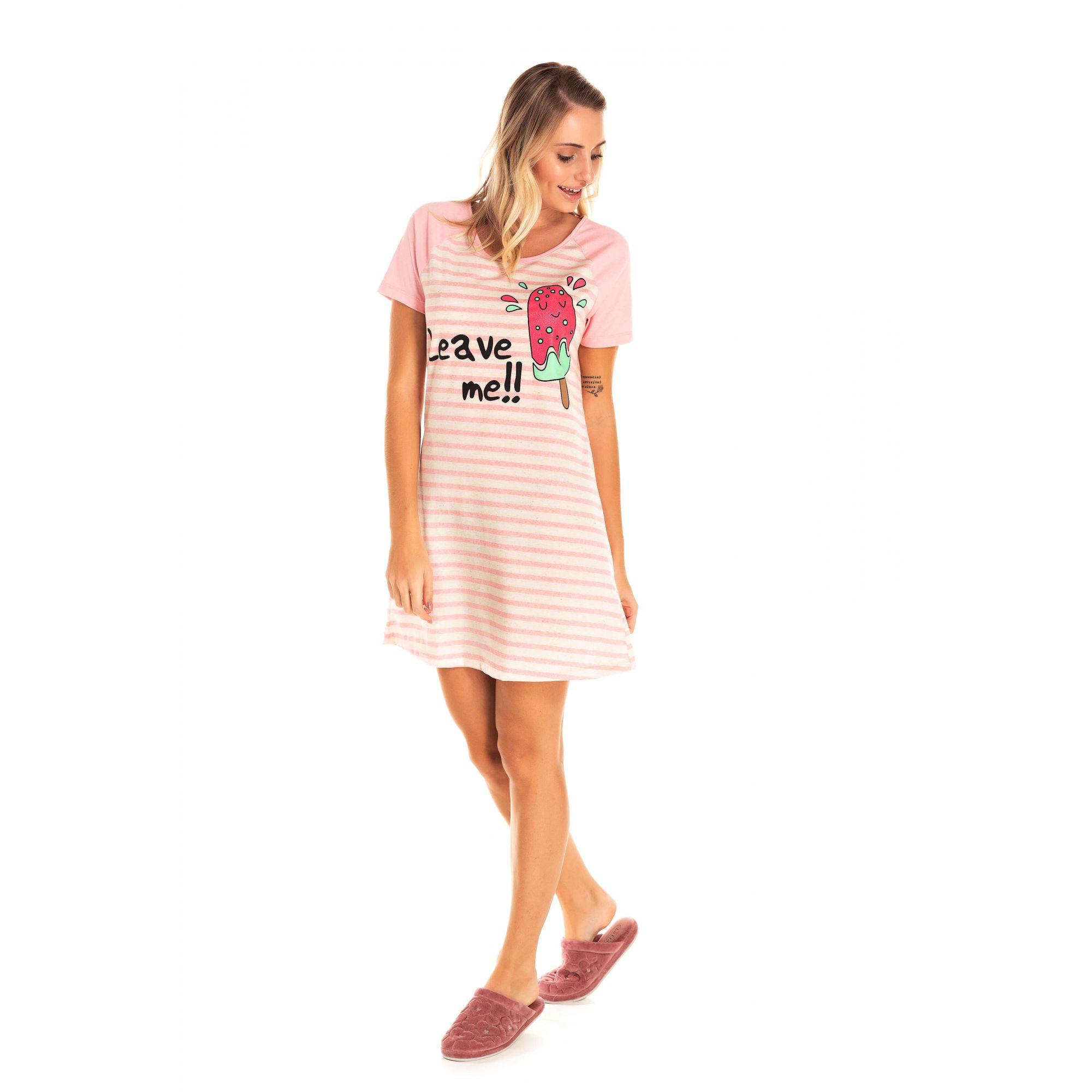 039 - Camisola Adulto Feminino Picolé - Rosa