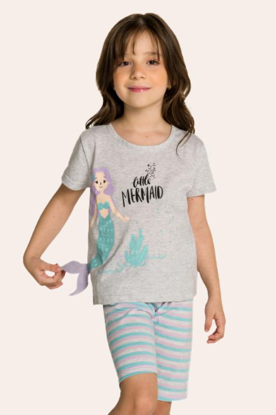 126/D - Short Doll Infantil Sereia Interativo com Feltro