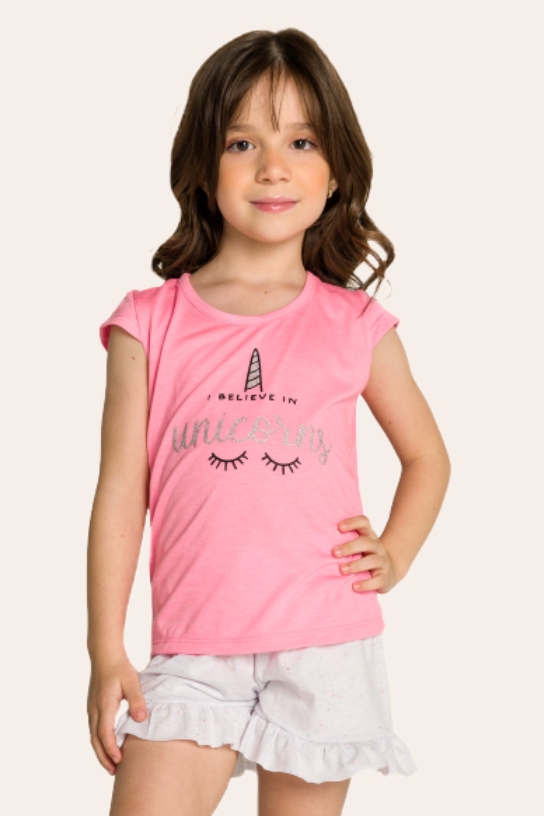 126/E - Short Doll Infantil Unicórnio I Believe In