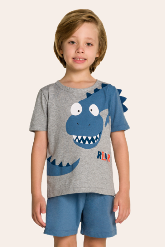 234/B - Pijama Infantil Dinossauro Interativo com Feltro
