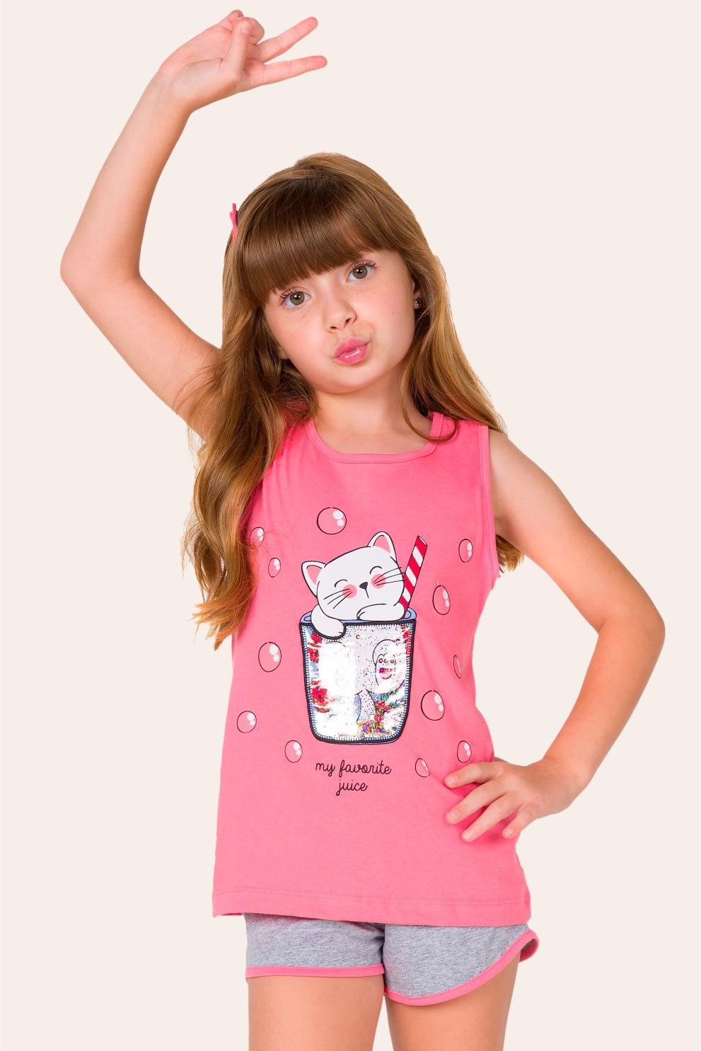 043/E - Pijama Infantil Feminino Catcktail