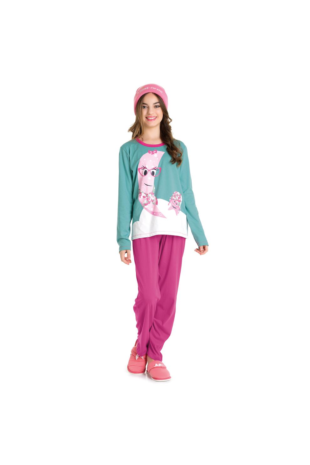 088/A - Pijama Juvenil Feminino Belita Verde Bristol