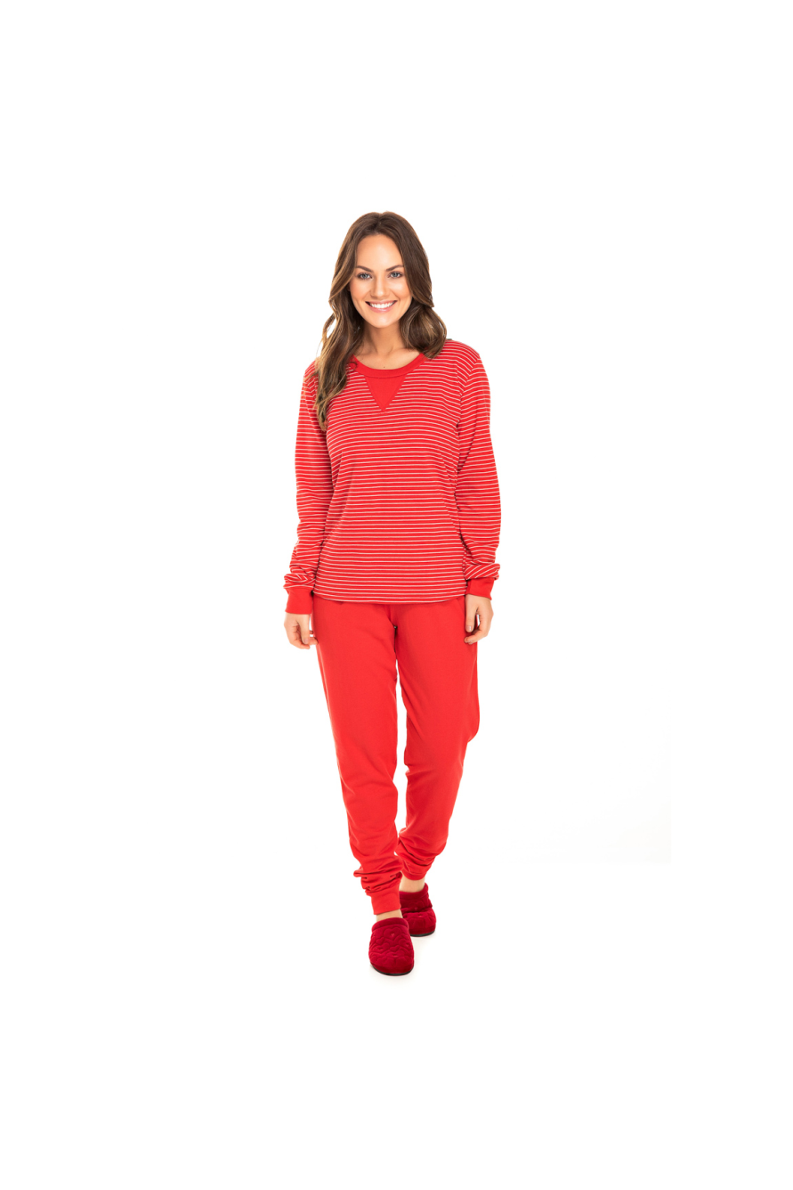 090/J - Pijama Adulto Feminino Moletinho Vermelho