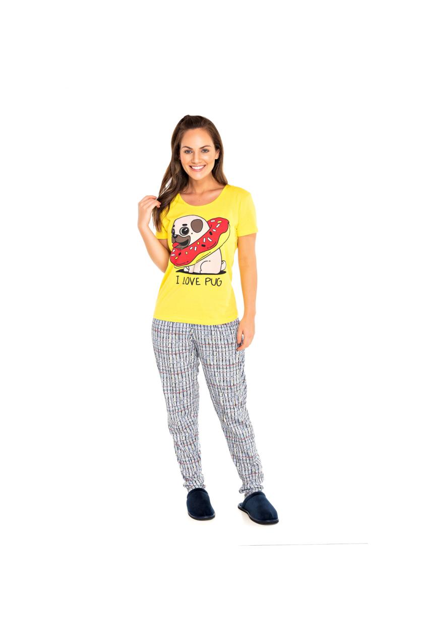 004/G - Pijama Adulto Feminino I LOVE PUG