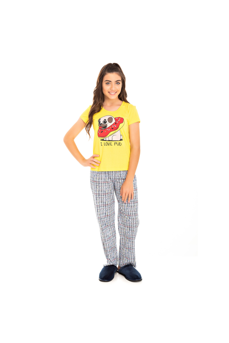 004/H - Pijama Juvenil Feminino I Love Pug
