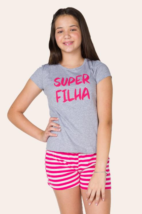 002/D - Pijama Juvenil Feminino Super Filha