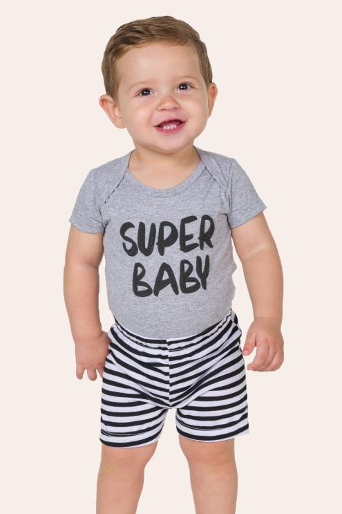 002/L - Pijama Bebê Unissex Super Baby