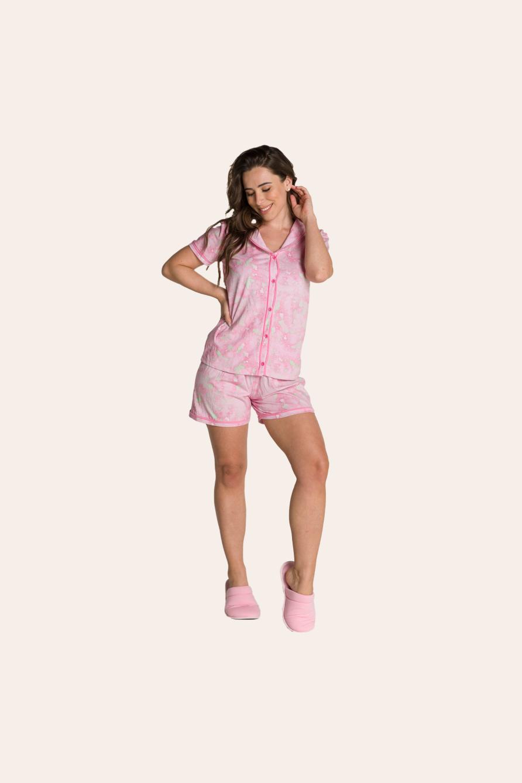 106/A - Short doll Maternidade Tie dye com Gola e Filetes
