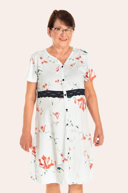 223/C - Camisola Adulto Feminino Floral Com Renda