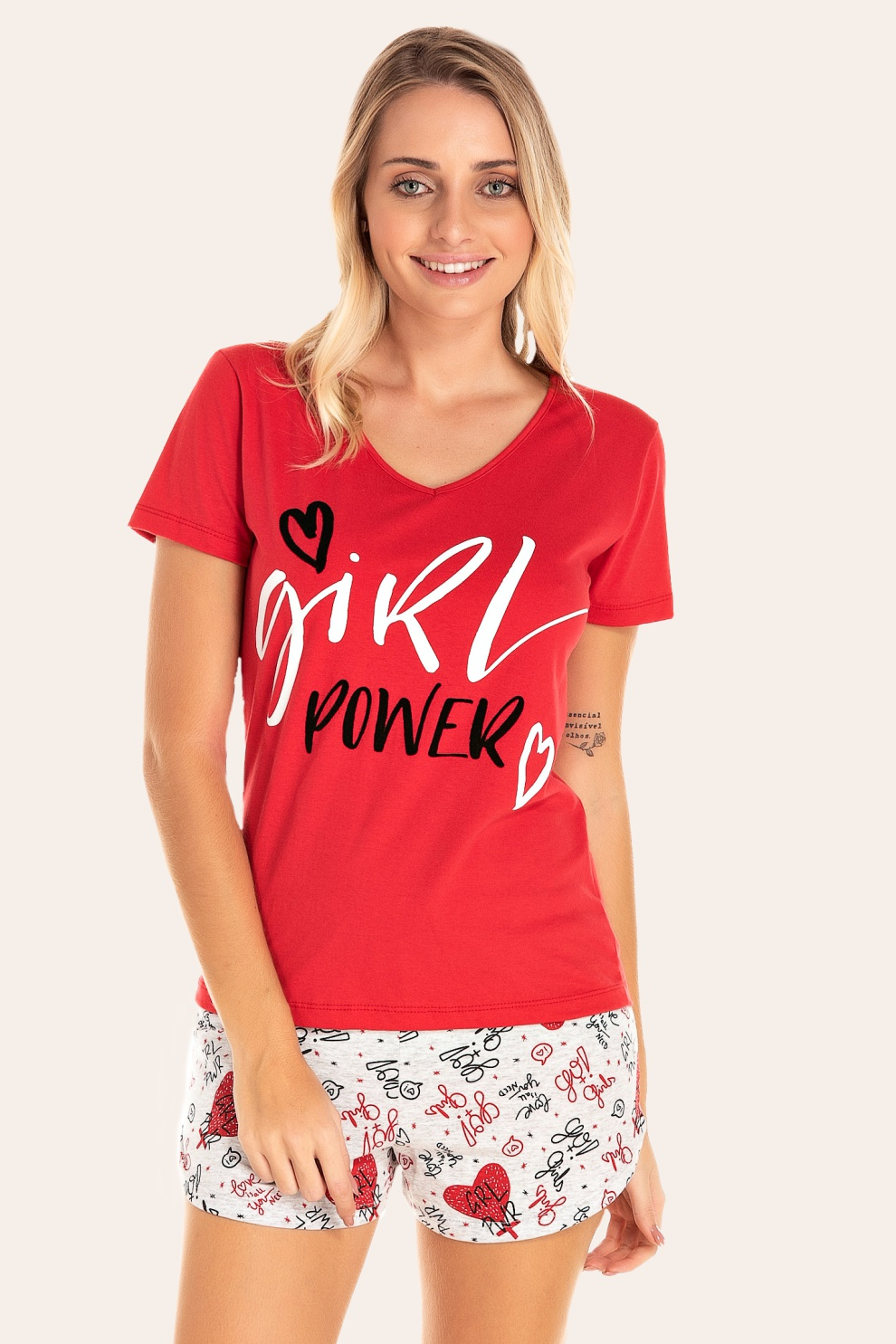 112/I - Short Doll Adulto Feminino Girl Power