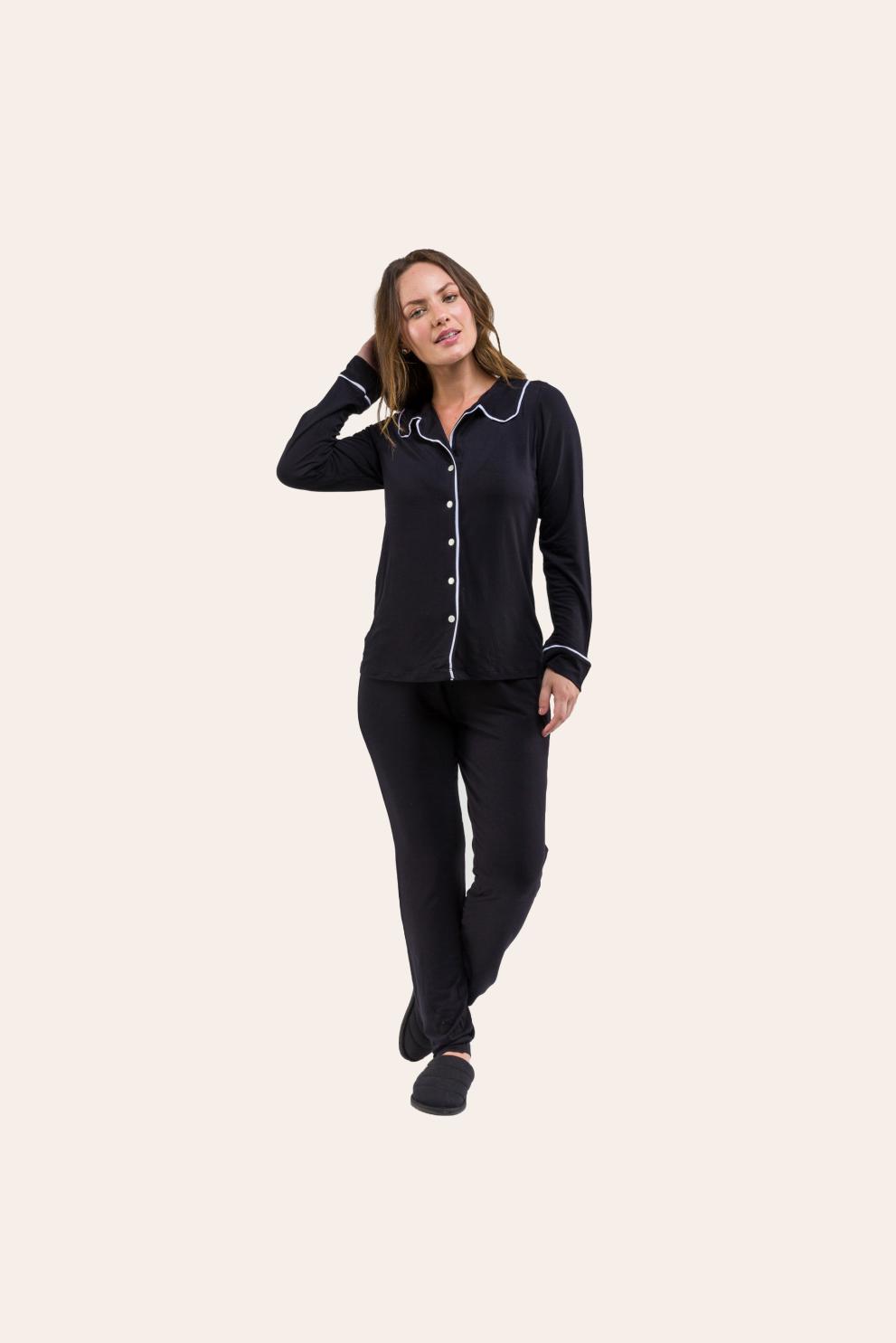 114/B - Pijama Adulto Feminino Longo Comfy Viscolycra