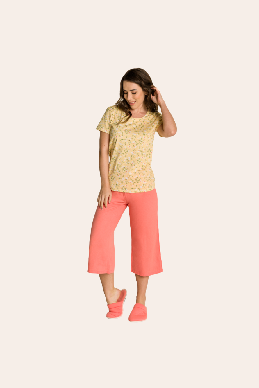 118/B - Pijama Adulto Feminino Pantacourt Margarida