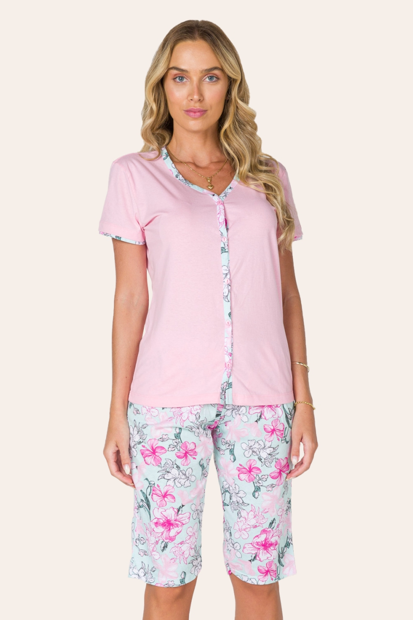 120/D - Pijama Maternidade Floral Botões Funcionais