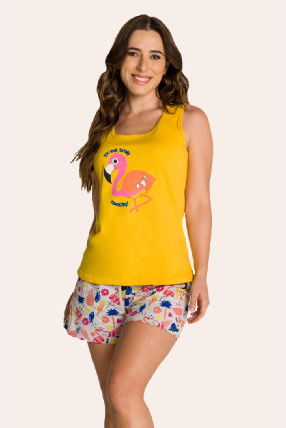 132/B  - Pijama Adulto Feminino Flamingo