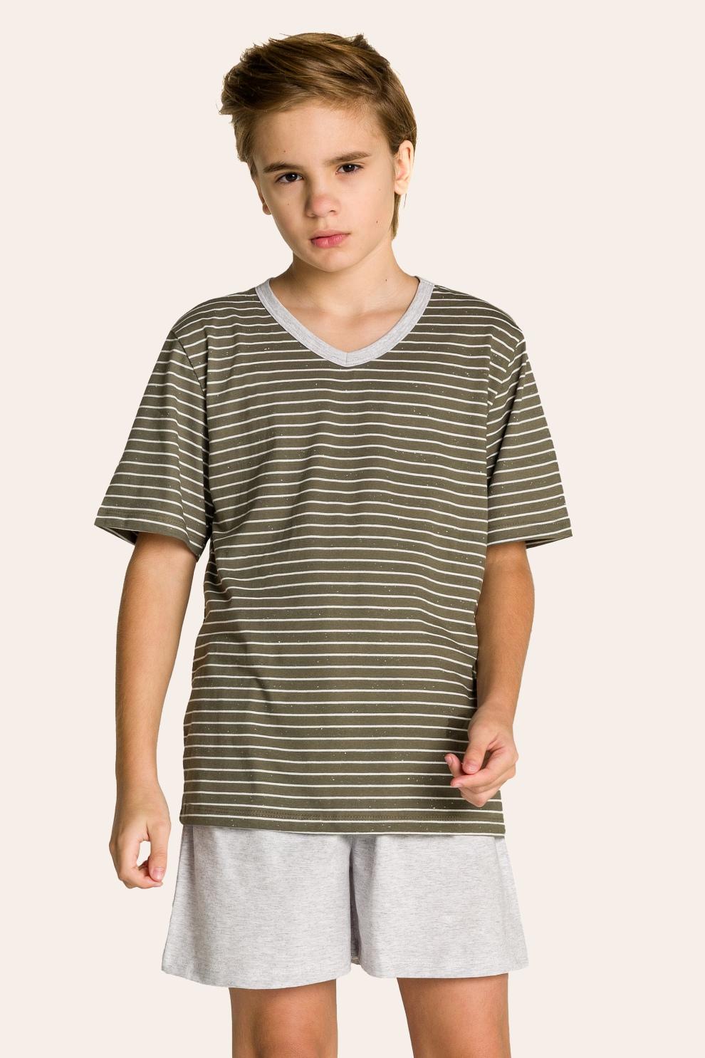 134/B - Pijama Juvenil Masculino Pai e Filhos Botonê Listrado