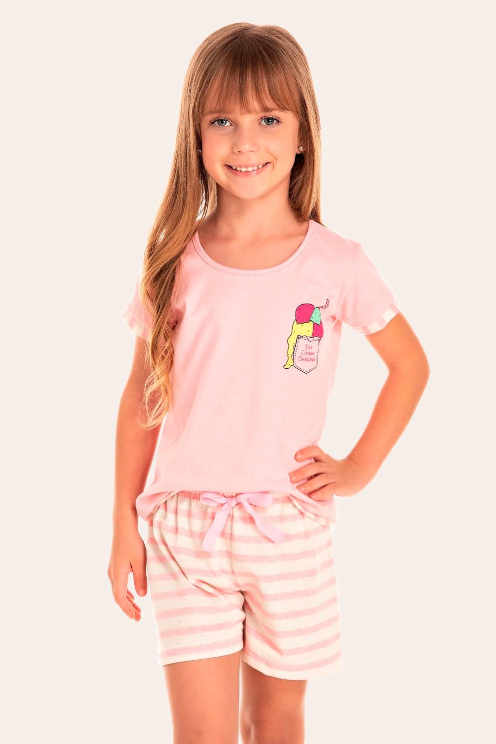 140/C - Short Doll Infantil Feminino Sorvete