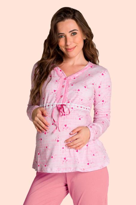 196/A- Pijama Maternidade Gatinho Rosa