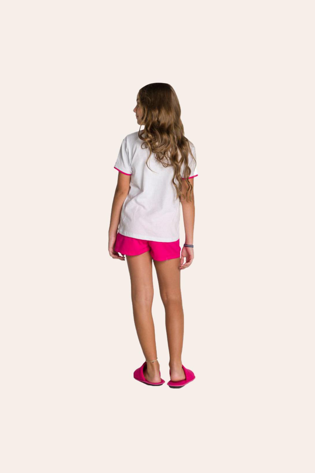203/B - Pijama Juvenil Feminino em Botonê Estampa Glitter - Mãe e Filha