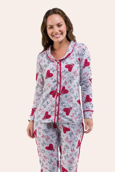 196/F - Pijama Maternidade com Gola e Filete