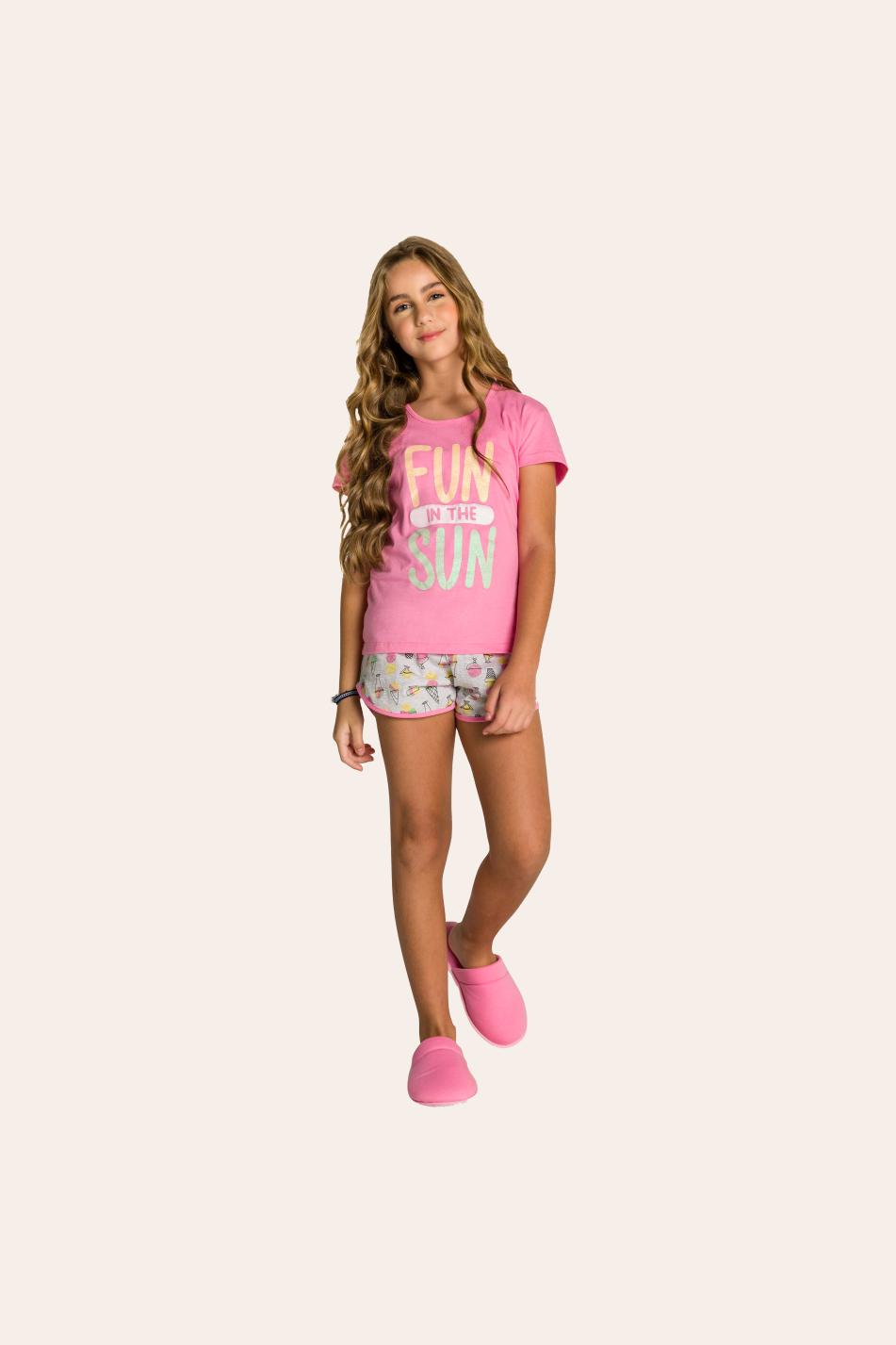 205/B - Pijama Juvenil Feminino Curto Estampa Glitter - Mãe e Filha