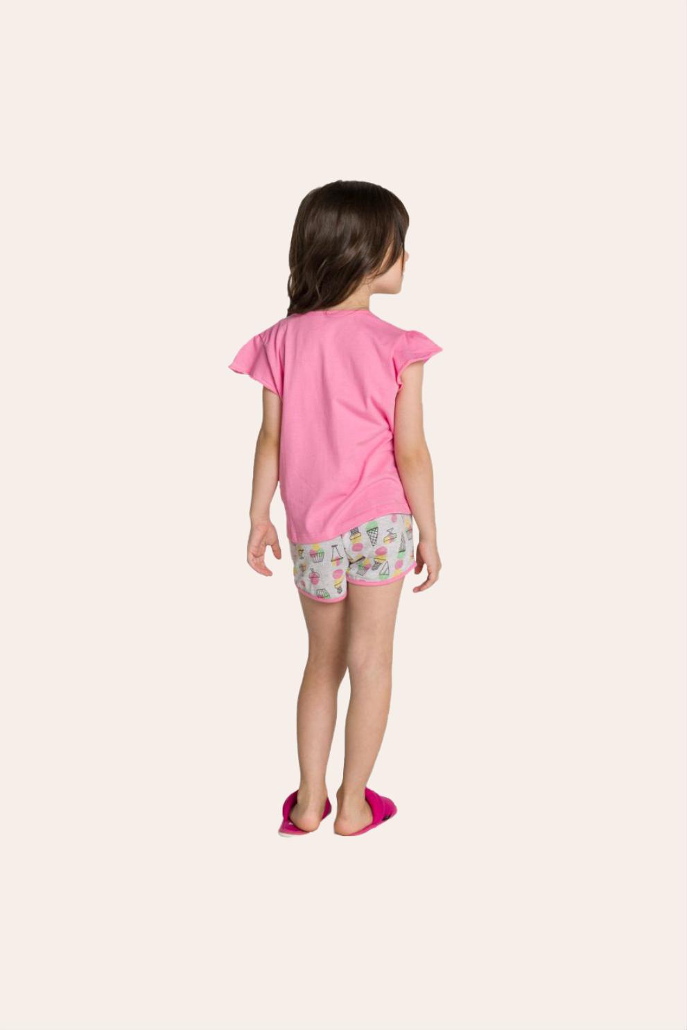 128/F - Pijama Infantil Feminino Curto com Babado e Estampa Glitter - Mãe e Filha